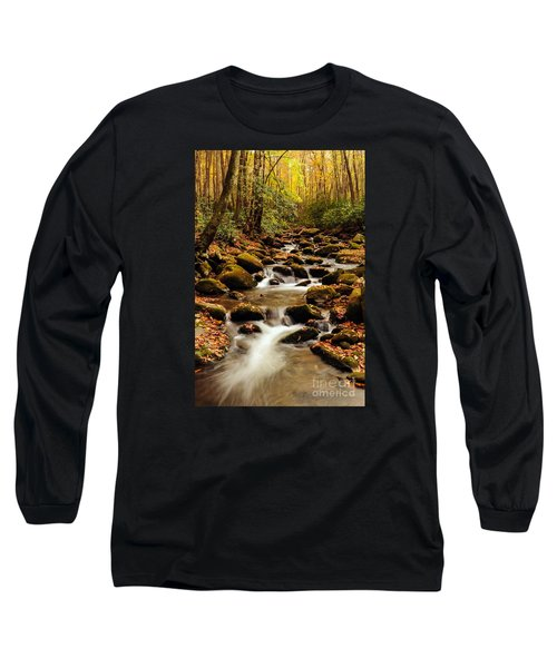Long Sleeve T-Shirt featuring the photograph Golden Stream In The Great Smoky Mountains by Debbie Green