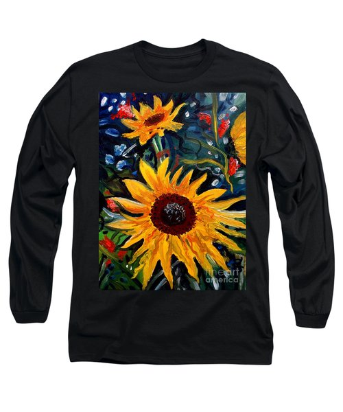 Golden Sunflower Burst Long Sleeve T-Shirt