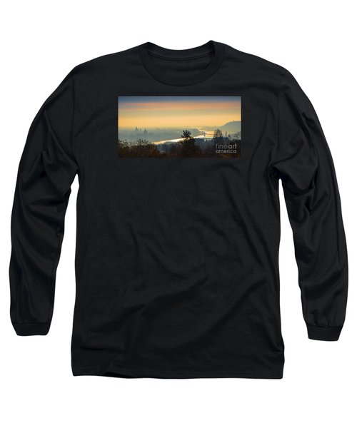Long Sleeve T-Shirt featuring the photograph Golden Sunrise Over Budapest by Jivko Nakev
