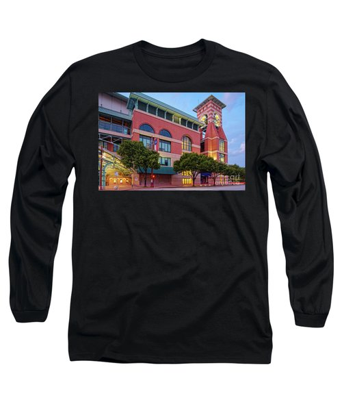 Golden Sunset Glow On The Facade Of Minute Maid Park - Downtown Houston Harris County Texas Long Sleeve T-Shirt