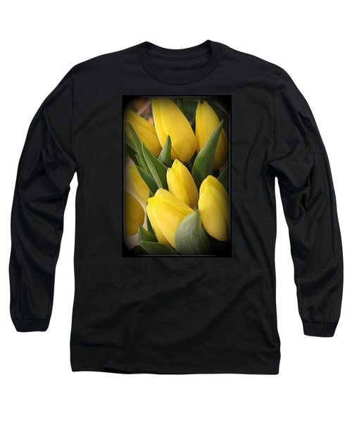 Golden Tulips Long Sleeve T-Shirt by Dora Sofia Caputo Photographic Art and Design