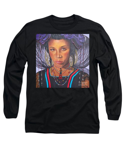 Long Sleeve T-Shirt featuring the painting Golden Wodaabe Girl by Sigrid Tune