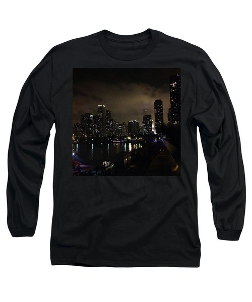 Chicago Skyline By Night Long Sleeve T-Shirt