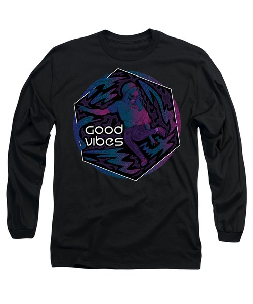 Long Sleeve T-Shirt featuring the painting Good Vibes Skelegirl by Raphael Lopez