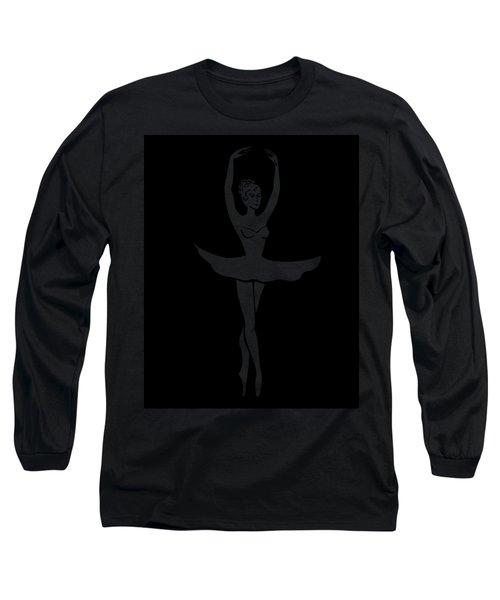 Graceful Dance Ballerina Silhouette Long Sleeve T-Shirt