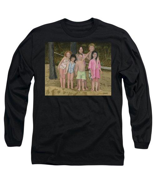 Grandkids On The Beach Long Sleeve T-Shirt by Ferrel Cordle