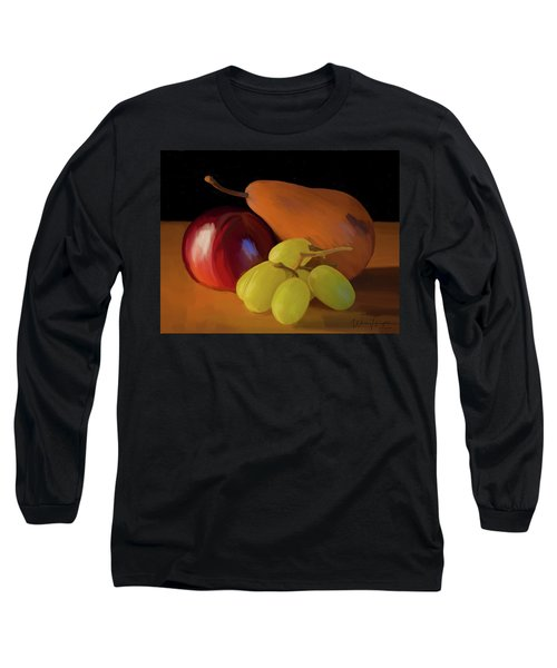 Grapes Plum And Pear 01 Long Sleeve T-Shirt by Wally Hampton