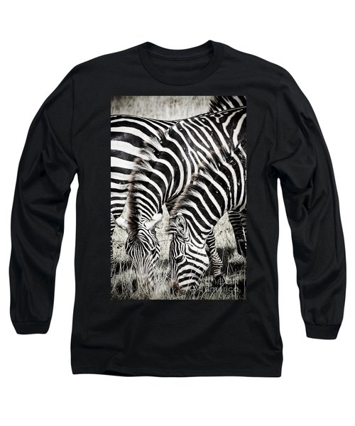 Grazing Zebras Close Up Long Sleeve T-Shirt by Darcy Michaelchuk