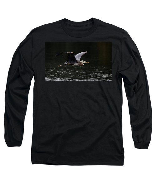 Graceful Great Blue Heron  Long Sleeve T-Shirt