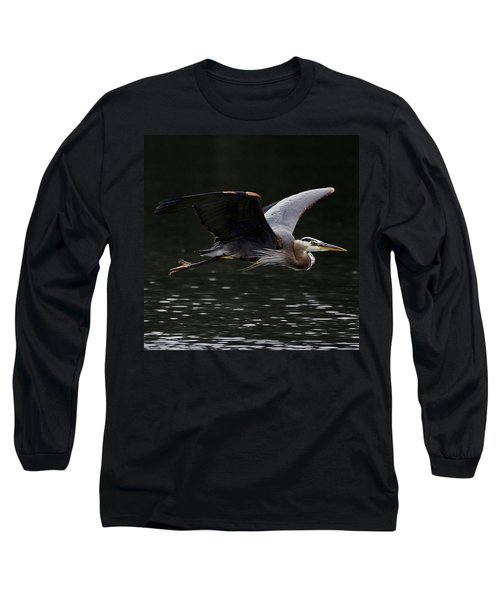 Graceful Great Blue Heron  Long Sleeve T-Shirt