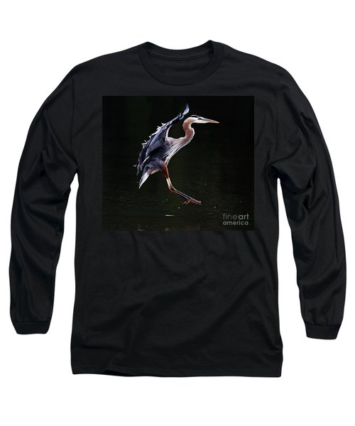 Great Blue Heron On The Wing Long Sleeve T-Shirt