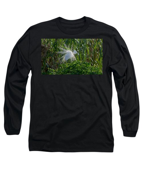 Great Egret In Flight With Windy Plumage Long Sleeve T-Shirt