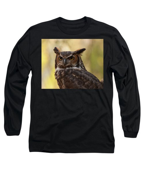 Long Sleeve T-Shirt featuring the photograph Great Horned Owl In A Tree 1 by Chris Flees