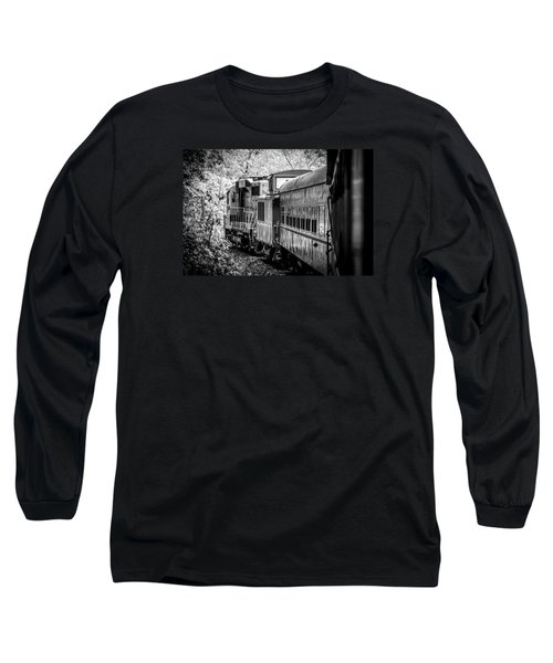Long Sleeve T-Shirt featuring the photograph Great Smokey Mountain Railroad Looking Out At The Train In Black And White by Kelly Hazel