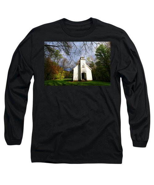 Great Smoky Mountains Spring Storms Over Palmer Chapel  Long Sleeve T-Shirt
