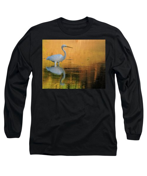 Great White On Gold Long Sleeve T-Shirt