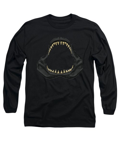 Great White Shark - Black Jaws With Gold Teeth On Black Canvas Long Sleeve T-Shirt