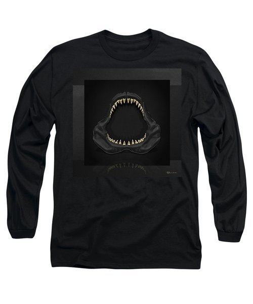 Great White Shark Jaws With Gold Teeth  Long Sleeve T-Shirt by Serge Averbukh