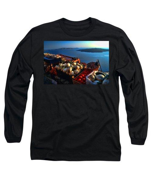 Greek Food At Santorini Long Sleeve T-Shirt by David Smith