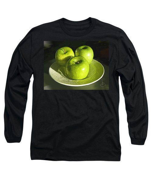 Green Apples In A White Bowl Long Sleeve T-Shirt