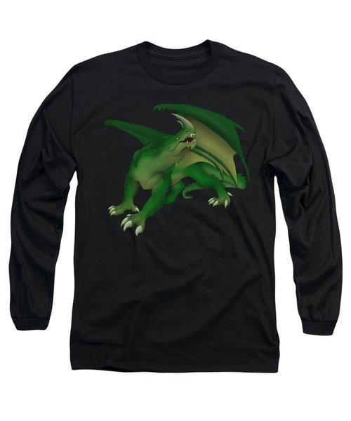 Green Dragon Long Sleeve T-Shirt by Gaynore Craps