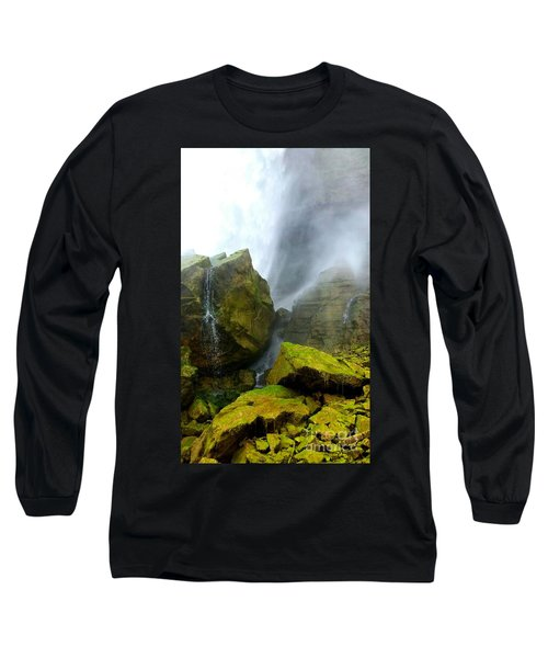 Green Falls Long Sleeve T-Shirt by Raymond Earley