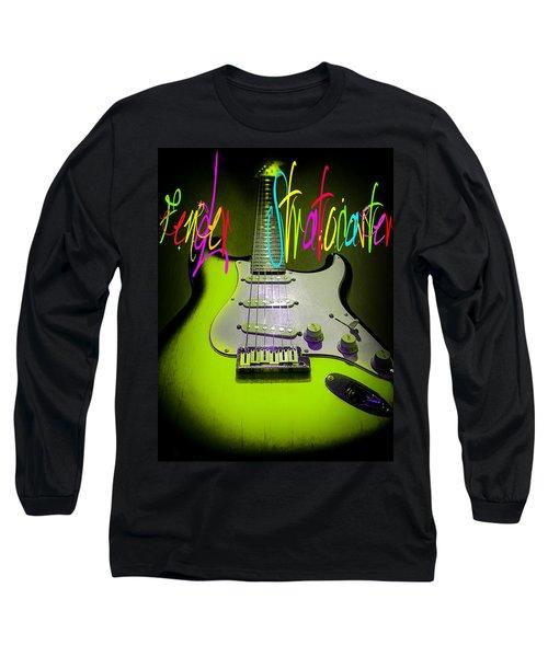 Long Sleeve T-Shirt featuring the digital art Green Stratocaster Guitar by Guitar Wacky