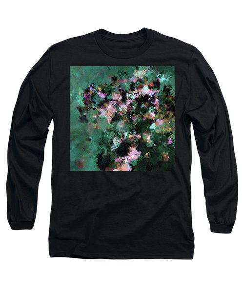 Green Landscape Painting In Minimalist And Abstract Style Long Sleeve T-Shirt by Ayse Deniz