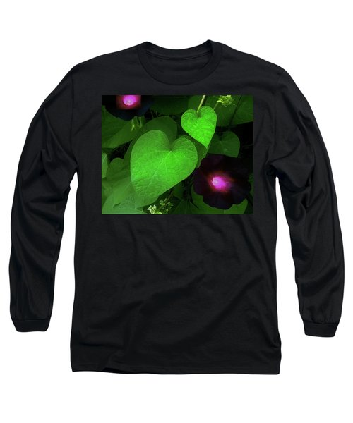 Green Leaf Violet Glow Long Sleeve T-Shirt