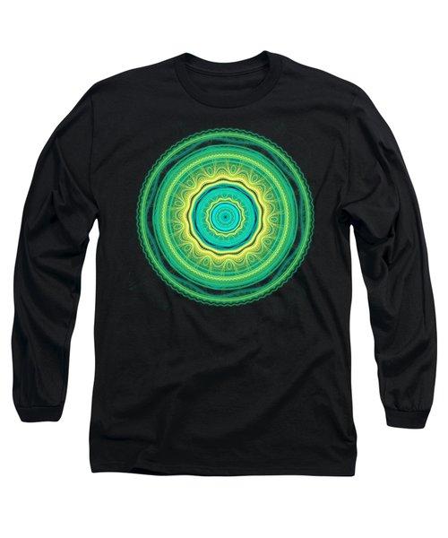 Green Mandala Long Sleeve T-Shirt by Martin Capek