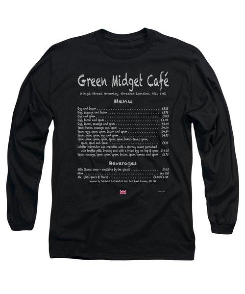 Green Midget Cafe Menu T-shirt Long Sleeve T-Shirt by Robert J Sadler