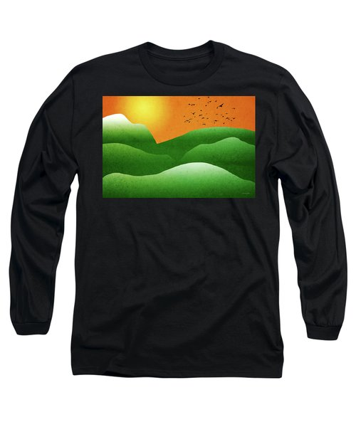 Green Mountain Sunrise Landscape Art Long Sleeve T-Shirt