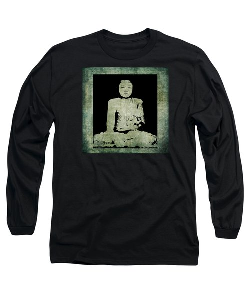 Long Sleeve T-Shirt featuring the painting Green Tranquil Buddha by Kandy Hurley