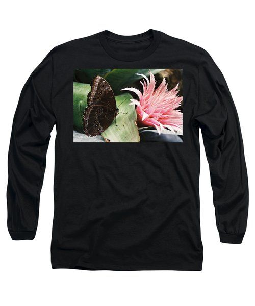 Grey Pansy Pink Bromeliad Long Sleeve T-Shirt