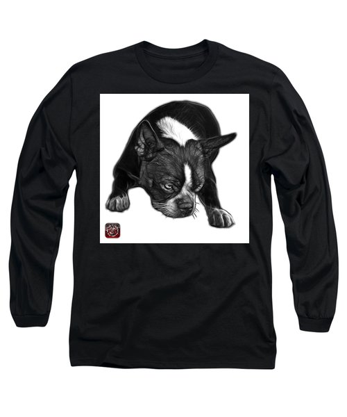 Greyscale Boston Terrier Art - 8384 - Wb Long Sleeve T-Shirt by James Ahn