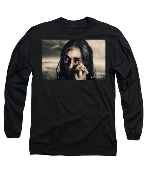 Grim Face Of Horror Crying Tears Of Blood Long Sleeve T-Shirt