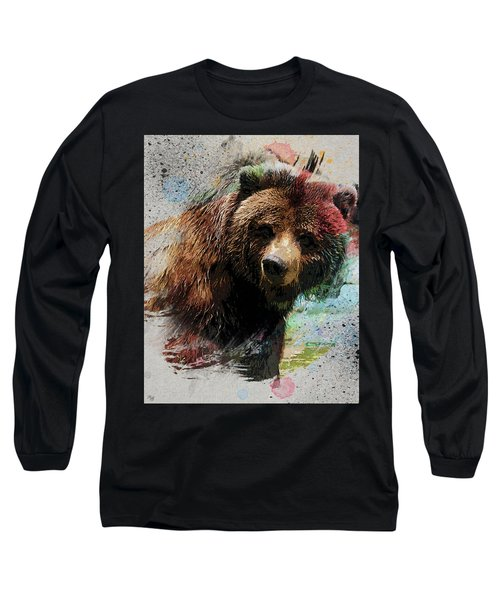 Grizzly Bear Art Long Sleeve T-Shirt by Ron Grafe