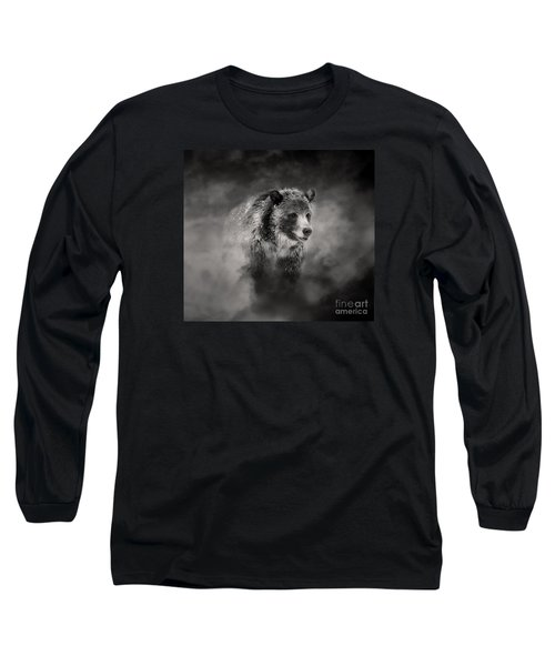 Grizzly Black And White In Clouds Long Sleeve T-Shirt by Clare VanderVeen