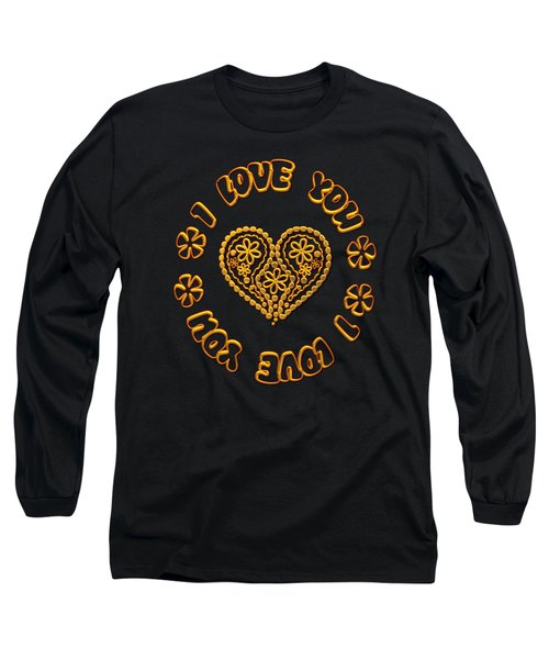 Groovy Golden Heart And I Love You Long Sleeve T-Shirt by Rose Santuci-Sofranko