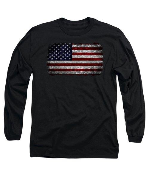 Grunge American Flag Long Sleeve T-Shirt by Martin Capek