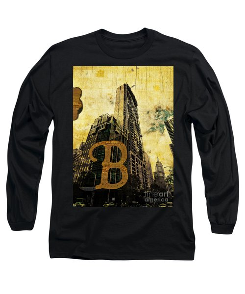 Grungy Melbourne Australia Alphabet Series Letter B Central Busi Long Sleeve T-Shirt