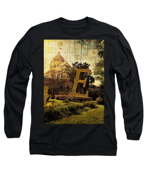 Grungy Melbourne Australia Alphabet Series Letter E Royal Exhibi Long Sleeve T-Shirt