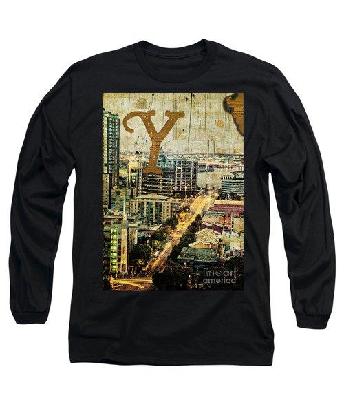 Grungy Melbourne Australia Alphabet Series Letter Y Yarra River Long Sleeve T-Shirt