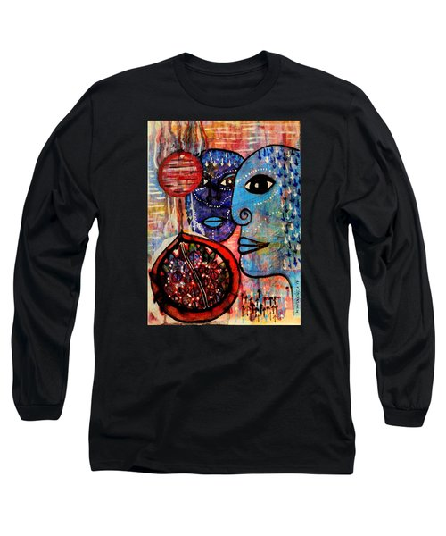 Long Sleeve T-Shirt featuring the painting Guarding The Pomegranate by Mimulux patricia no No