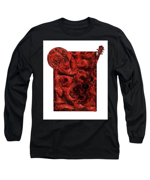 Guitar, Record, Red Long Sleeve T-Shirt