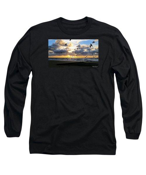 Gulls Take Wing Long Sleeve T-Shirt by Robert Banach