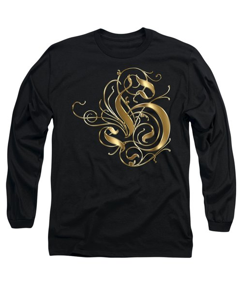 H Ornamental Letter Gold Typography Long Sleeve T-Shirt by Georgeta Blanaru