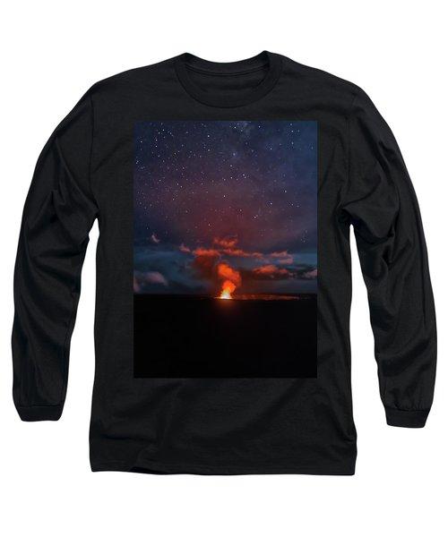 Halemaumau Crater At Night Long Sleeve T-Shirt