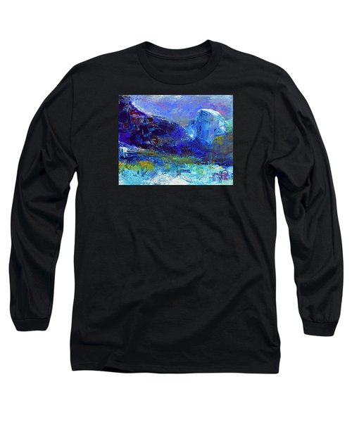 Long Sleeve T-Shirt featuring the painting Half Dome Winter by Walter Fahmy