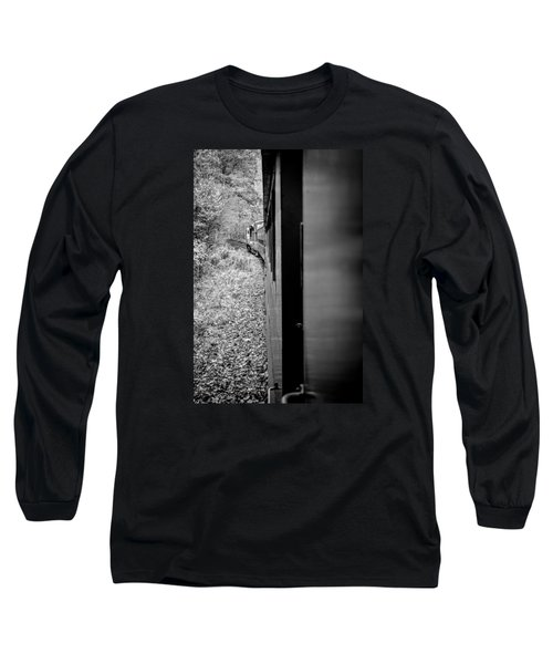 Long Sleeve T-Shirt featuring the photograph Half In Half Out Of The Train In The Mountains by Kelly Hazel